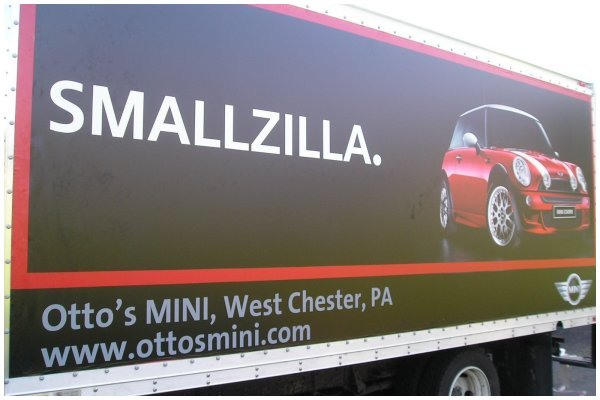 Cooper Car Ad on Truck