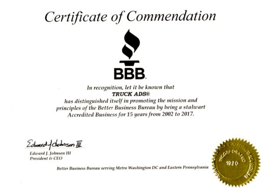 BBB Certificate of Commendation