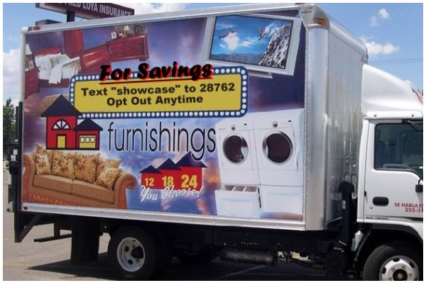 Text Message Ad on a Truck