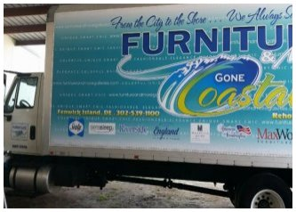 Furniture Store Ad using TRUCK ADS® Frame Kit