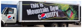 Mountain Dew Ad on Straight Truck