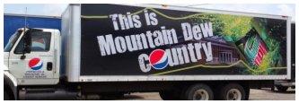 Mountain Dew Ad on Straight Truck